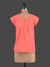 Pleated Neck Polyester Top - VAAK