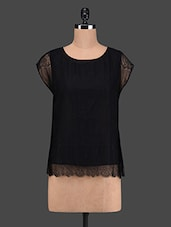 Cap Sleeve Round Neck Lace Top - VAAK