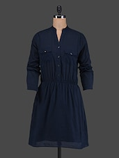 Mandarin Collar Solid Blue Viscose Dress - VAAK