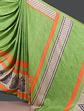 Self Print Green  Crepe Saree - Nanda Silk Mills