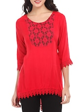 Red Lace Yoke & Hem Viscose Top - Mustard