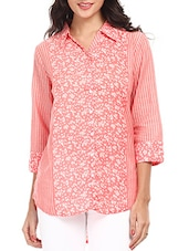 Pink Printed Cotton Shirt - Mustard