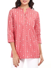 Pink Printed Cotton Top - Mustard