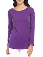 Solid Purple Lace Yoke Cotton Top - Mustard