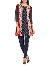 Multiprint Round Neck Georgette Kurti - Mustard