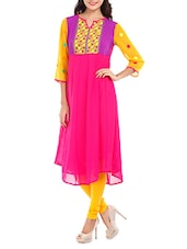 Multicolored Yoke Pink Georgette Kurti - Mustard