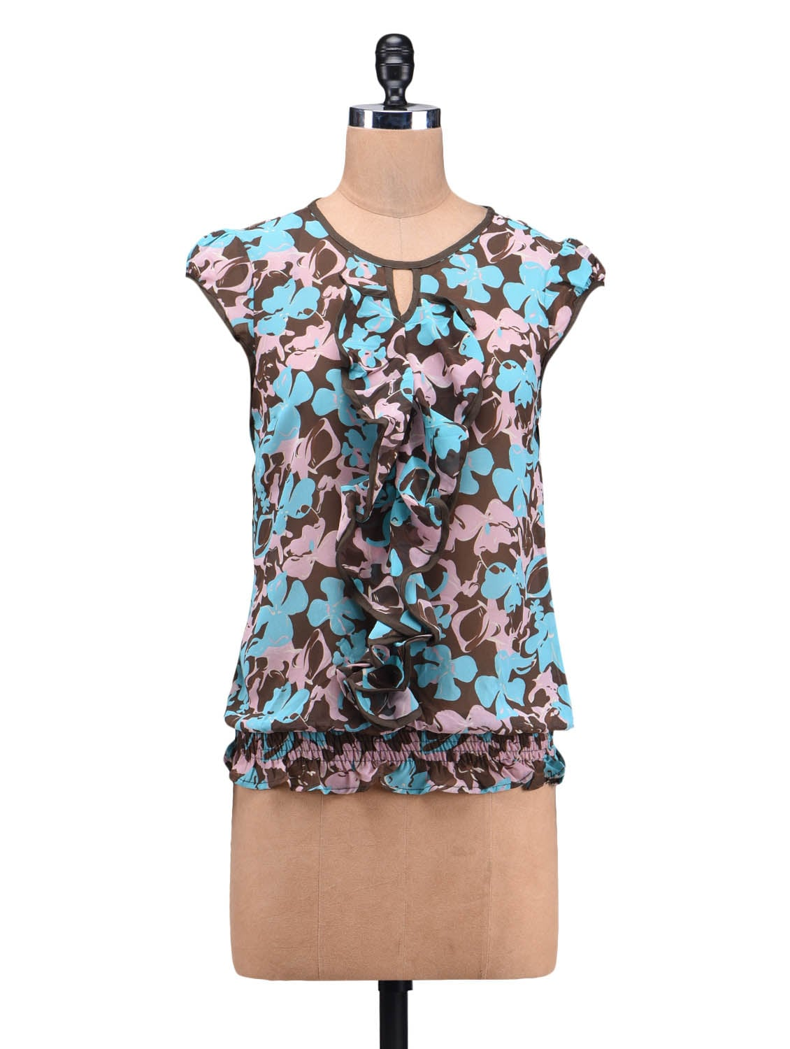 Blue Poly Georgette Printed Gathered Top - By