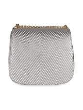 Silver Textured Flap Sling bag