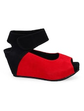 Colour Block Open Toe Wedges - Soft & Sleek