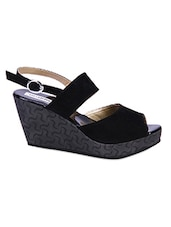 Black Double Strap Wedges - Soft & Sleek