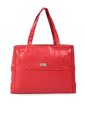 Solid Red Leatherette Tote Bag - LavieWomen