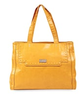 Solid Yellow Leatherette Tote Bag - LavieWomen