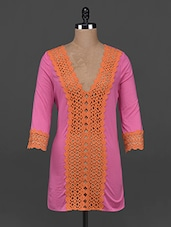 Deep Neck Lace Embellished Cotton Top - AHE