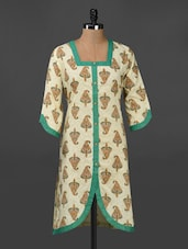 Quarter Sleeve Ethnic Print Cotton Kurta - Adyana