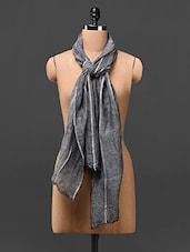 Grey Striped Linen Scarves - Estellin