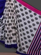 Lotus Printed Stripe Pallu Georgette Saree - Bunny Sarees