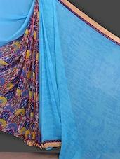 Printed Blue Half & Half Saree - Bunny Sarees