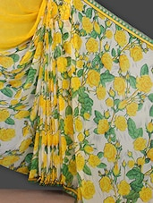 Yellow Rose With Leaf Printed Saree - Bunny Sarees