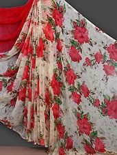 Red Flower With Leaf Printed Saree - Bunny Sarees