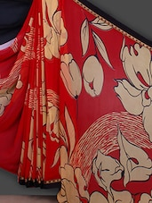 Red Floral Printed Georgette Saree - Bunny Sarees