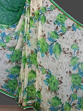 Green Floral Printed Georgette Saree - Bunny Sarees