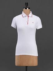 White Cotton Knit Polo T-shirt - Meira