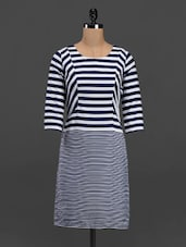 Striped Round Neck Crepe Dress - Meira
