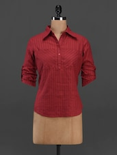 Roll Up Sleeves Shirt Collar Cotton Top - Meira
