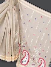 Beige Embroidered Art Silk Saree - Prabha Creations