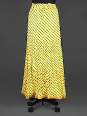 Lehariya Print Crinkled Yellow Cotton Long Skirt - Indian Shoppe