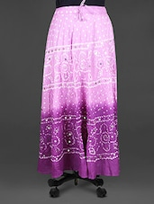 Mirror Work Bandhej Print Cotton Midi Skirt - Indian Shoppe