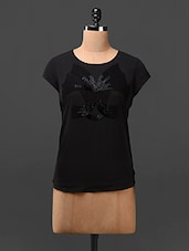 Black Embroidered Polycrepe Top - L'elegantae