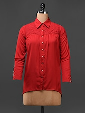Red Full Sleeves Poly Crepe Shirt - L'elegantae