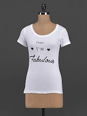 """I'm Fabulous"" Quoted Cotton Knit Tee - Yepme"