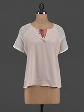 Dust Pink Polyester Tie-up Top - Yepme