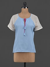 Blue Polyester Tie-up Top - Yepme