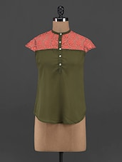 Lace Trimmed Olive Georgette Top - Yepme