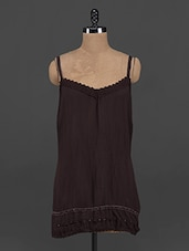 Lace Trimmed Brown Polyester Top - Yepme