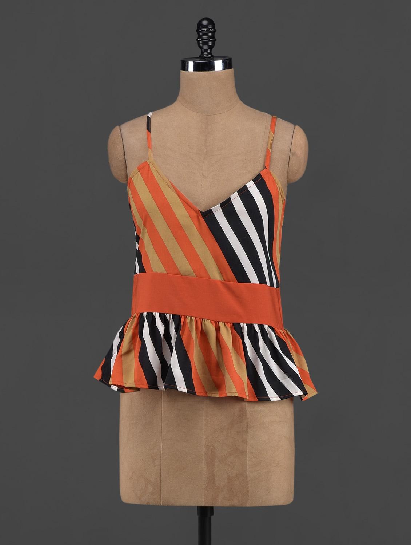 Striped Polyester Peplum Top - Yepme