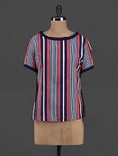 Striped Polyester Back-cut Top - Yepme
