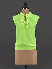 Fresh Green Georgette Frill Top - Yepme