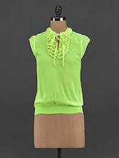 Fresh Green Georgette Frill Top - Yepme