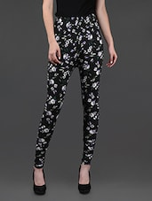 Floral Print Black Cotton Lycra Leggings - Yepme