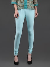 Sky Blue Cotton Lycra Churidaar Leggings - Yepme