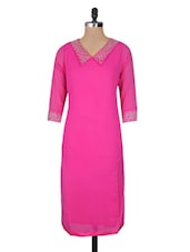 Pink Georgette And Silk Sequin Worked Three Quarter Sleeved Long Kurta - By