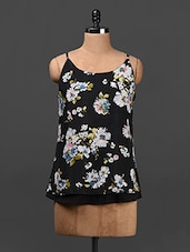 Black Floral Print Polyester Top - Ridress