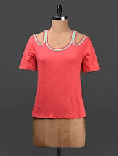 Coral Pink Cut-out Shoulder Cotton Top - Ridress