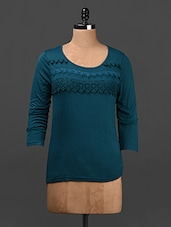 Teal Blue Lace Embellished Cotton Top - Ridress