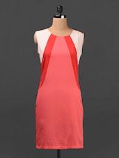 Color Block Sleeveless Crepe Shift Dress - Ridress