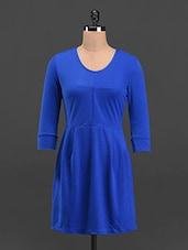 Solid Royal Blue Round Neck A-line Dress - Sweet Lemon